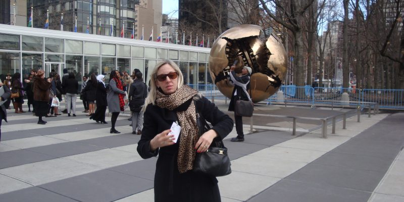 Melissa outside at the UN