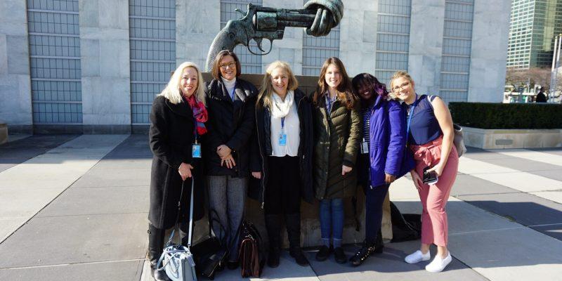 Outside the UN building